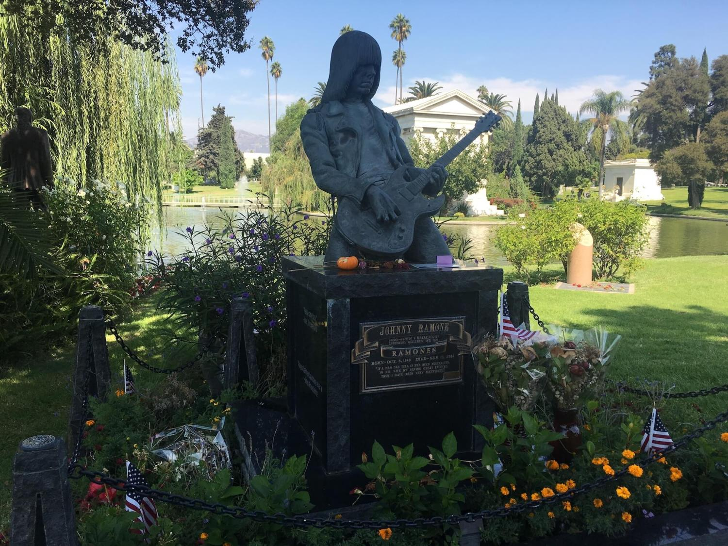 Johnny Ramone memorial, hollywood forever cemetery
