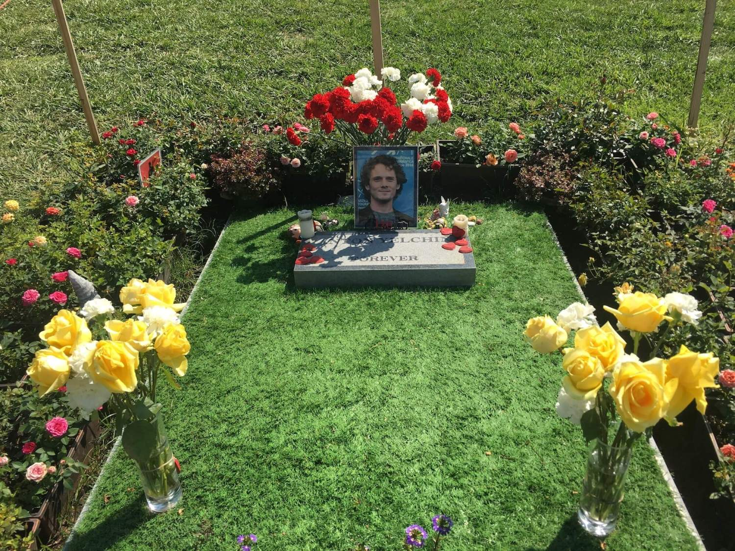 Anton yelchin final resting place, hollywood forever cemetery, Anton yelchin temporary grave