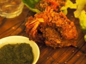 krupuk crusted prawn   Laksa Riesling Supper   Yvanne Teo