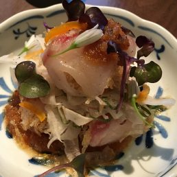 bream sashimi, shichimi cripsy potato