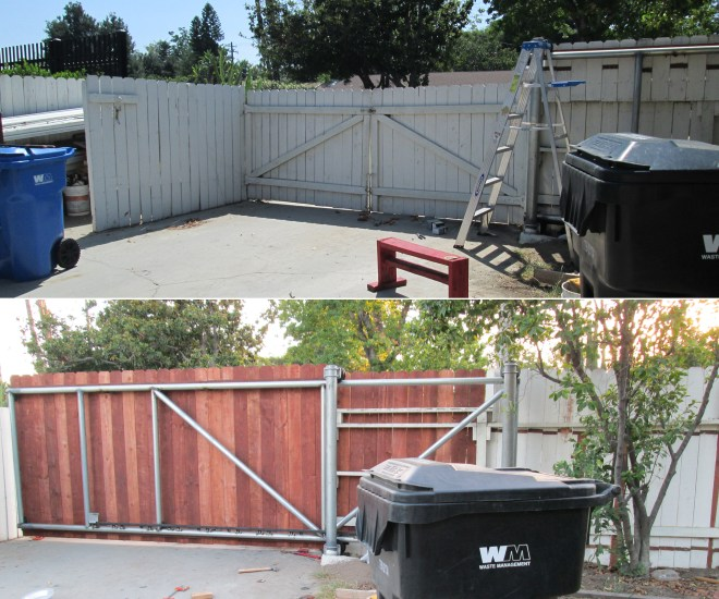Remove the old gate and attach the fencing board. Check out the time-lapse!