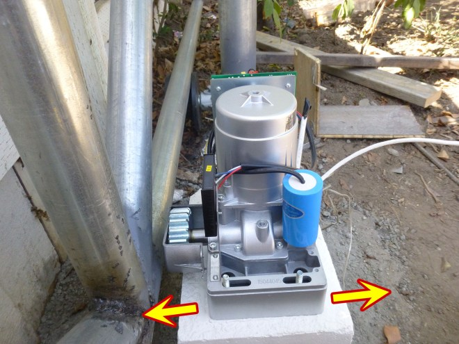 Install the gate opener and adjust the position.