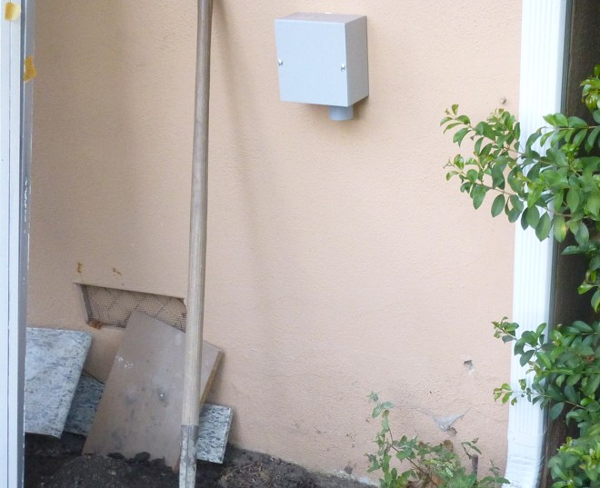Pull box mounted on external wall