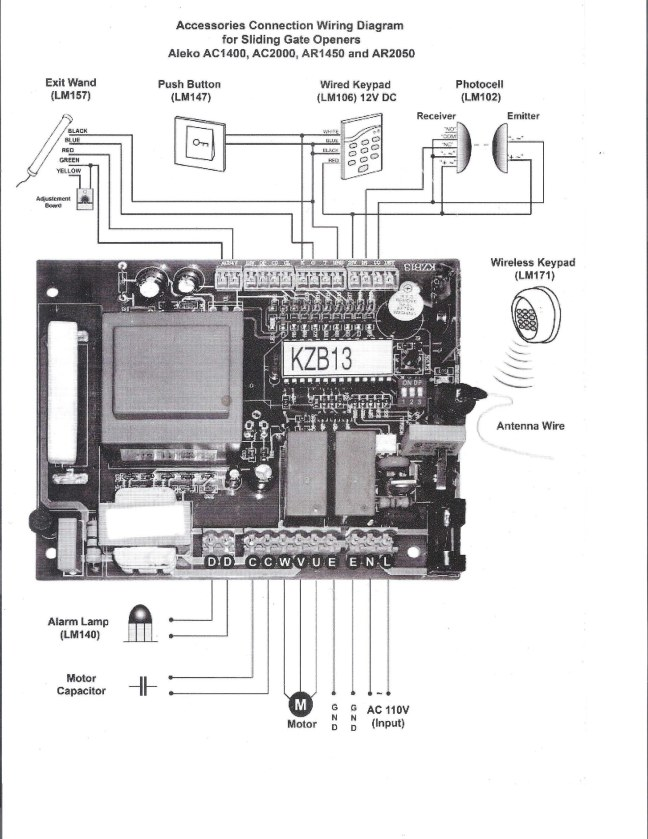 Detail wiring diagram of AR1450 gate opener mother board.