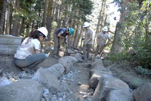 ACE crewmembers Colleen Flanagan, Colin Hauke, Lindsey Johnson and Phil Barr-Beare each work on an aspect of trail construction to bring the project together. USFS photo