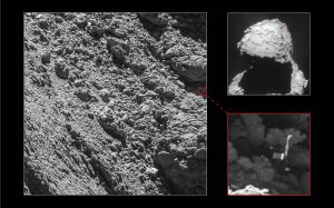 Main image and lander inset: ESA/Rosetta/MPS for OSIRIS Team MPS/UPD/LAM/IAA/SSO/INTA/UPM/DASP/IDA; context: ESA/Rosetta/NavCam – CC BY-SA IGO 3.0