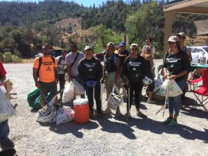 Volunteers from Grant High School's Latino Outdoors helping at Protect American River Canyons' cleanup along the American River in Auburn, CA. Photo Credit: Samantha Vigil, California State Parks.