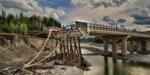 A bridge washed away by devastating floods in Alberta, Canada, in 2013. Image: Gregg Jaden via Flickr