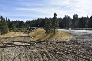 Erosion barriers have been placed in the user created parking area to prevent sediment from washing into the Prosser Creek. Photo courtesy TNF