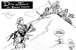 Tilting At Women, an OtherWords cartoon by Khalil Bendib.