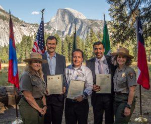September 29, 2016: Yosemite National Park, California.  Sister parks signing at Res #1.