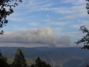 As seen from the Foresthill Divide: Moonrise over El Dorado County Controlled Burns. Photo courtesy Debbie Griffin