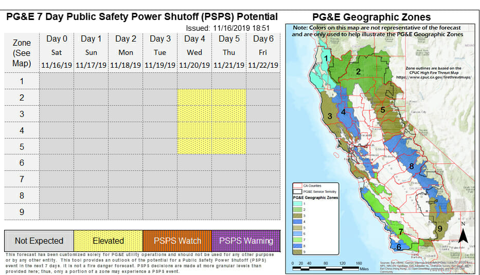 Elevated Psps Potential For The Middle Part Of Next Week According To Pg E Yubanet