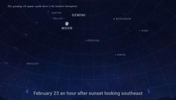 The Moon visits the bright stars of Gemini on Feb. 23. Credit: NASA/JPL-Caltech