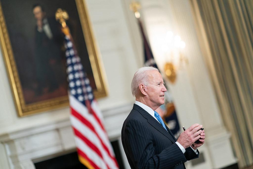 President Joe Biden speaks to journalists at the White House. (Photo: Adam Schultz/White House)