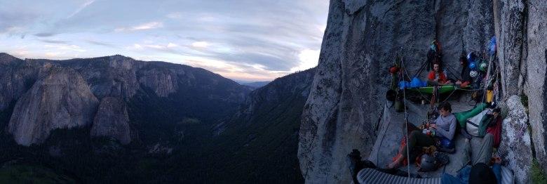 limbers big wall camping on El Capitan in Yosemite National Park.