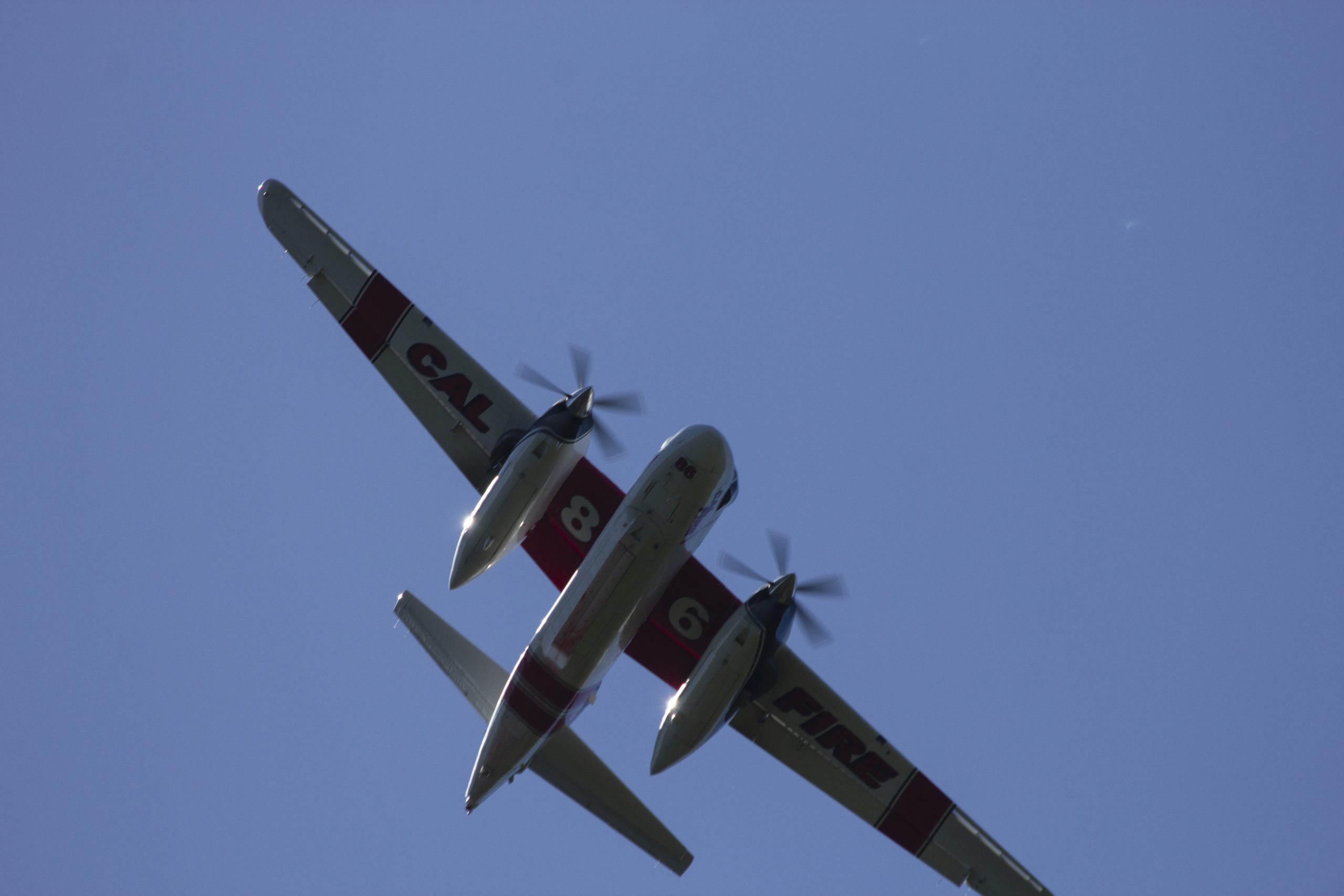 Tanker 86 flying over YubaNet hq and the South Yuba canyon during training. Photo: YubaNet