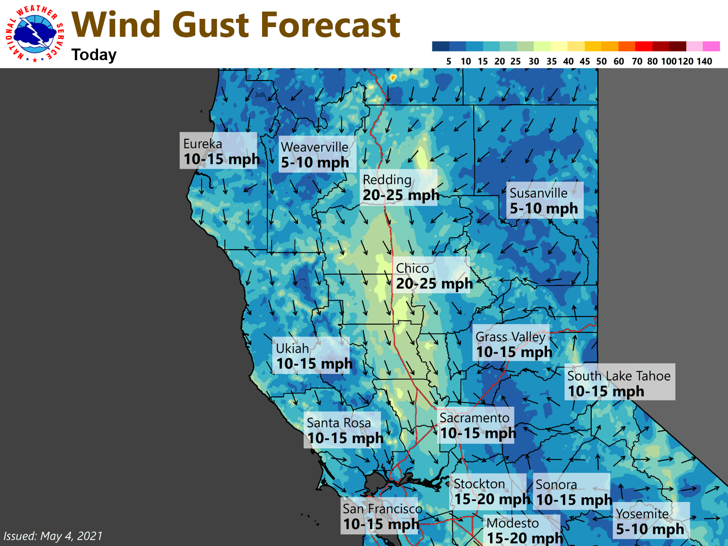 Wind gusts today