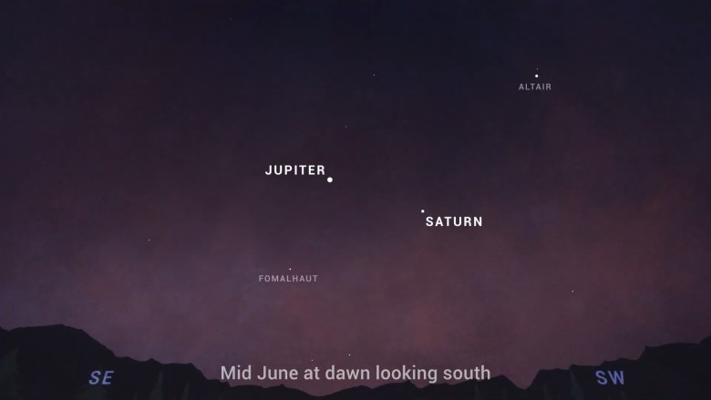 Having swapped places in December 2020, Saturn now leads Jupiter across the sky, rising an hour before the other giant planet in June.