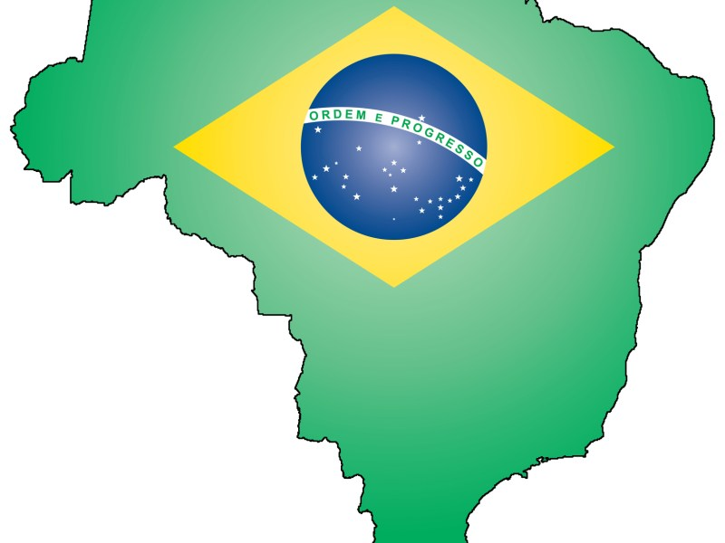 Outline of Brazil with state flag