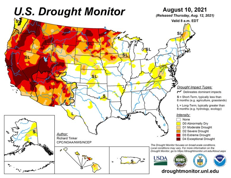 Drought conditions across the contiguous United States as of August 10, 2021. Around 40% of the U.S. is experiencing drought.