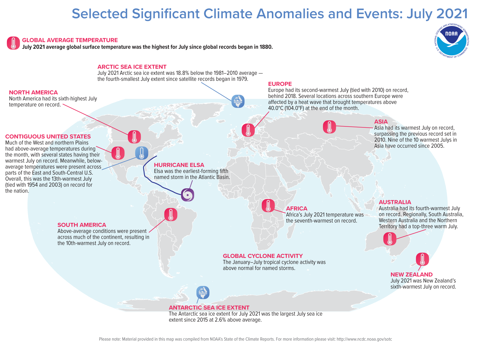 A map of the world plotted with some of the most significant climate events that occurred during July 2021. Please see the story below as well as more details in the report summary from NOAA NCEI at http://bit.ly/Global202107. (NOAA NCEI)