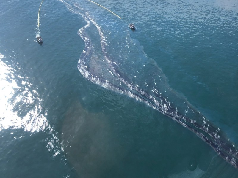 Crude oil is shown in the Pacific Ocean offshore of Orange County, Oct. 3, 2021.