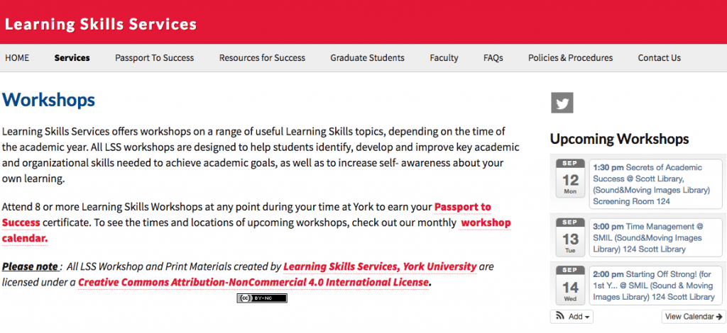 Homepage of Learning Skills Services. Red banner at the top of the page, categories under banner, and then description of workshops offered below categories.