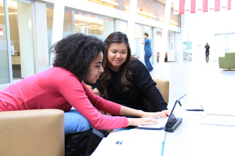 Two York U students enjoy a safe study space on campus
