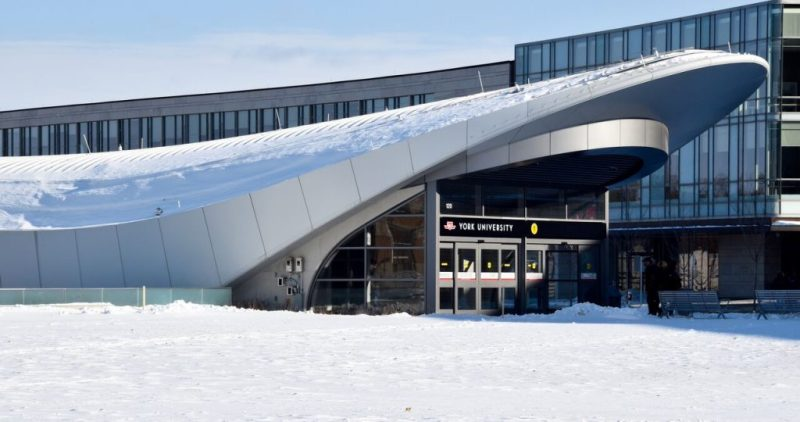 A photo of the exterior of the York University Subway Station.
