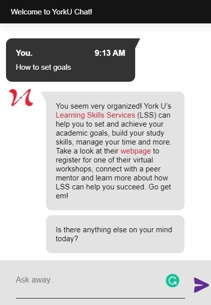 """Screenshot of SAVY with a response to the question """"How to set goals?"""""""
