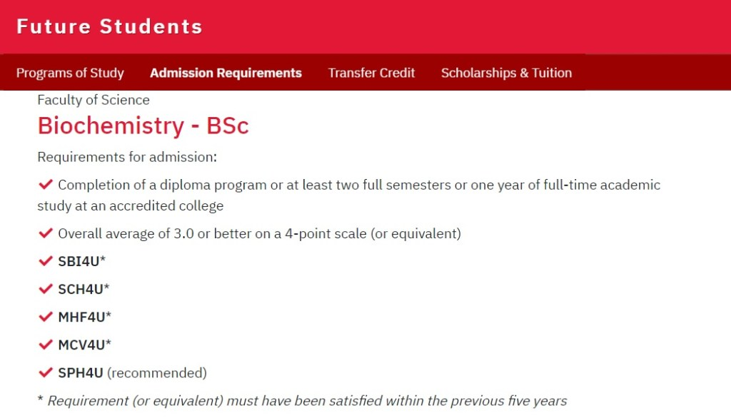A screenshot of the admission requirements for BSc in Biochemistry