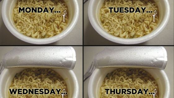 Ramen, Monday. Ramen, Tuesday. Ramen, Wednesday. Ramen, Thursday