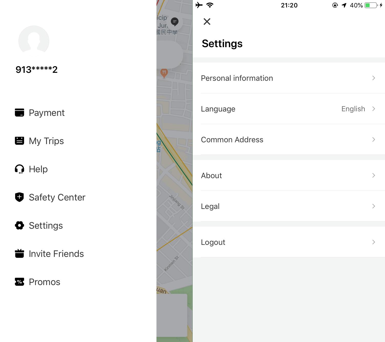 japan taxi didi - settings