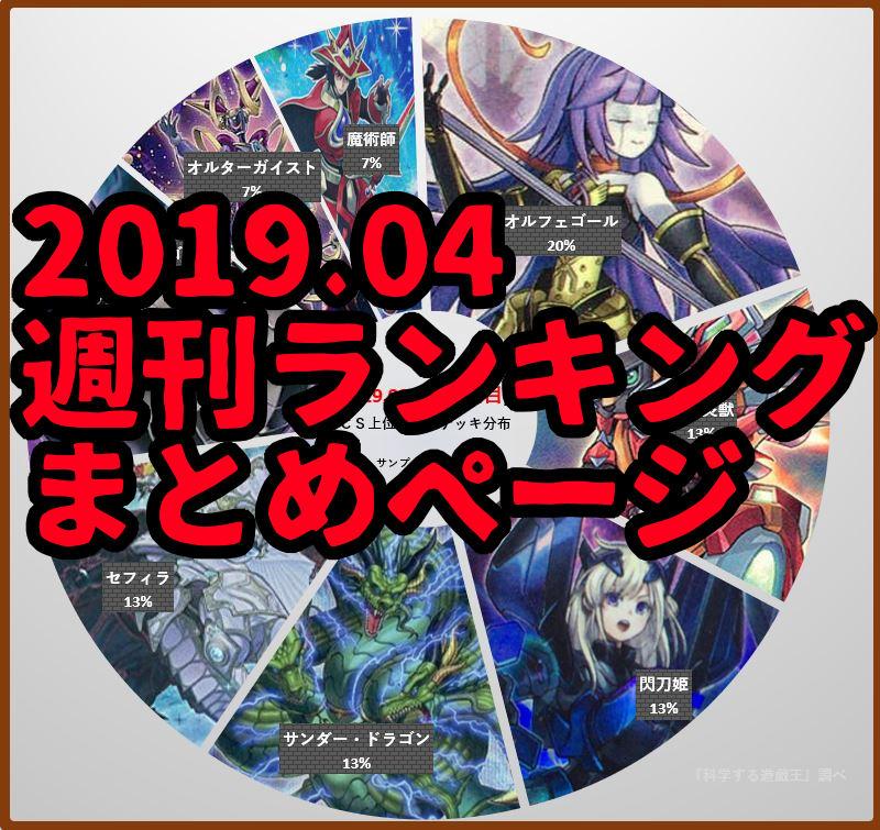 2019年04月レギュレーション 週刊環境ランキング(1週目まで)【更新】