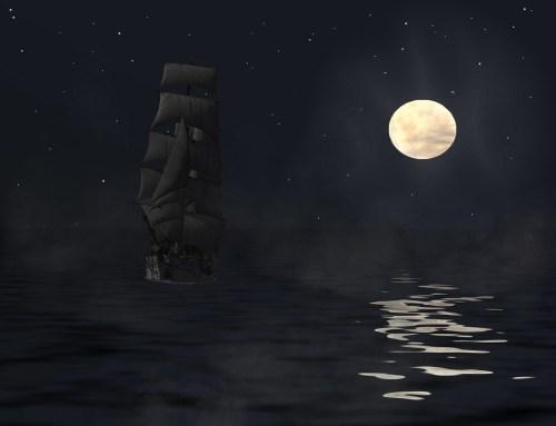 帆船 夜 月 海