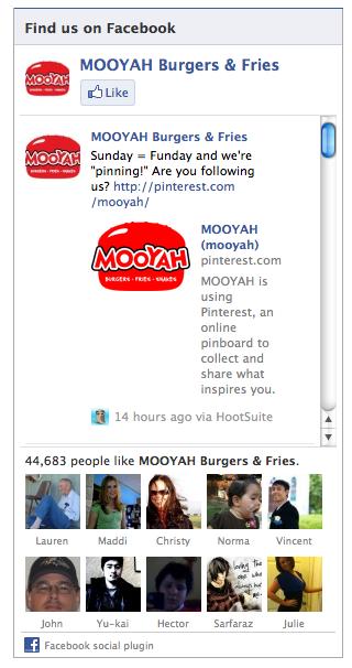 Facebook Mooyah Widget