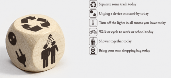 Image of eco-dice for eco-friendly apps