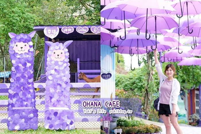 最浪漫紫的景點》OHANA CAFE~愛情聖地也有草泥馬!愛情傘、戀愛巴士 都超好拍(目前休園中)