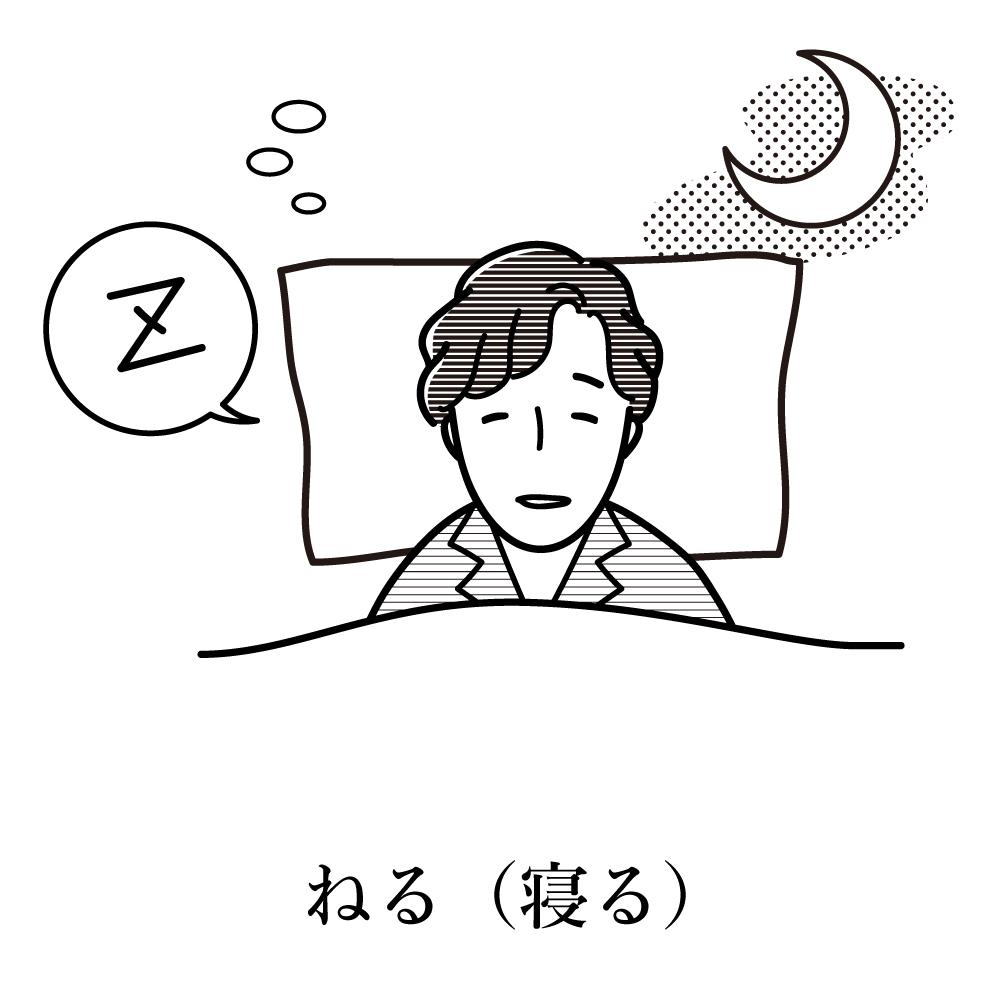 語彙カード 日本語 語学 寝る