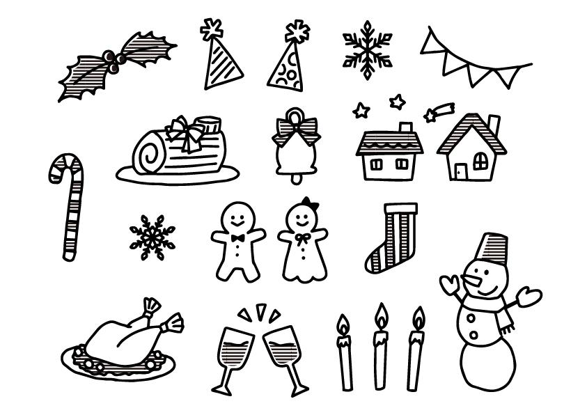 クリスマス  ツリー  無料イラスト イラスト教材 教材 モノクロ 白黒