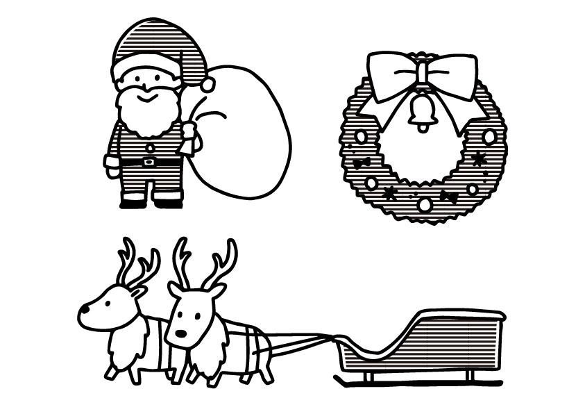 クリスマス サンタクロース リース  ツリー ソリ トナカイ  無料イラスト イラスト教材 教材 モノクロ 白黒
