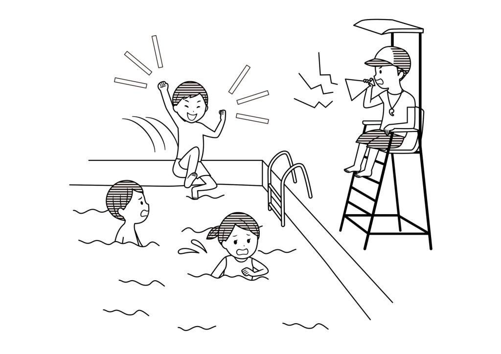 モノクロ無料イラスト プールの監視員
