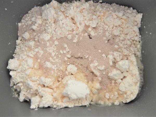 大豆粉と米粉の食パンミックスの材料を全て入れたところ