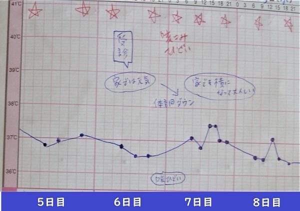 小児科受診シートの記録(5日目~8日目)