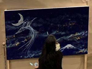 Live Painting Starry Night Christmas-Phoenix Mt,Fuji 星降る夜のクリスマス-景星鳳凰富士山絵図