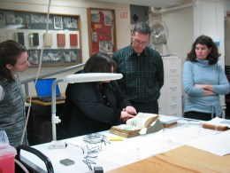 Sampling for radio-carbon dating in the old lab in Sterling Memorial Library
