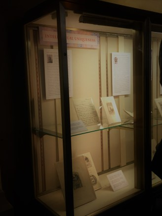 One of the cases in the corridor exhibit