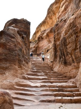 Petra. Beginning of the ascent to the Monastery