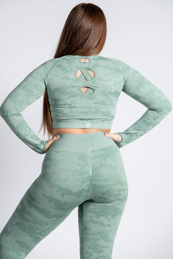 Adventurous Crop Top – Camo Mint